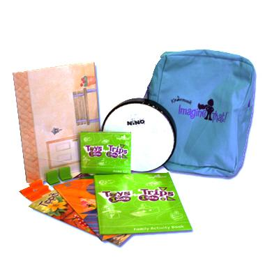 """Home Materials include a Niño drum, Toy Theatre Play Set, Home Activity Book, 2 music and movement storybooks, Double CD Pack, and """"Imagine That"""" backpack."""